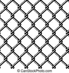 fil, silhouette, barrière, seamless, vecteur, noir