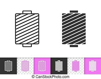 fil, simple, couture, vecteur, noir, ligne, icône