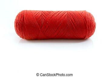 fil, sur, isolé, bobine, blanc rouge
