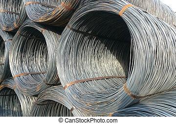 fil, tige, fini, stockées, enterprise., metallurgical, marchandises, entrepôt