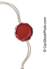 fil, timbre, cire, isolé, cachet, ou, rouges