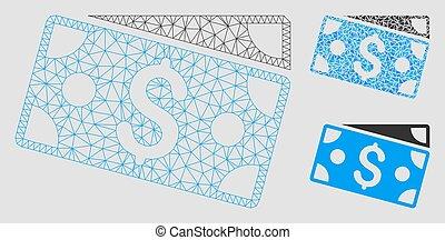 fil, triangle, cadre, dollar, maille, vecteur, modèle, mosaïque, icône