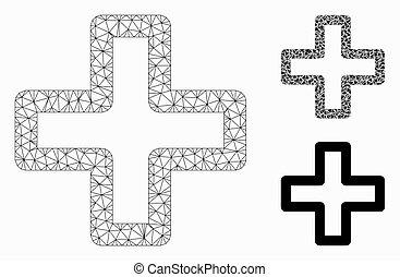 fil, triangle, cadre, maille, vecteur, plus, modèle, mosaïque, icône