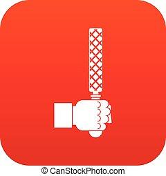 fil, værktøj, ind, mand, anføreren, ikon, digitale, rød