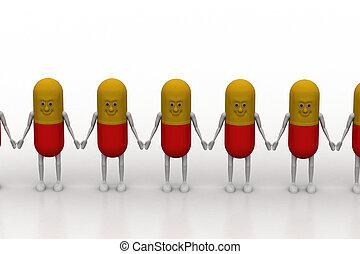 fila, 3d, pílula, mão