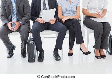fila, affari persone, seduta