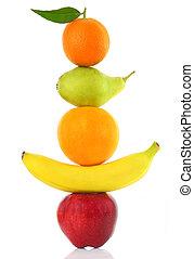 fila, bianco, isolato, frutte