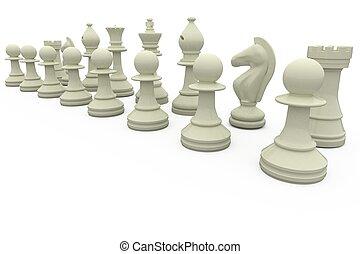 fila, bianco, pezzi gioco scacchi