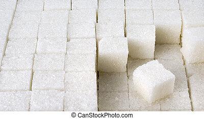 fila, branca, cubos, açúcar