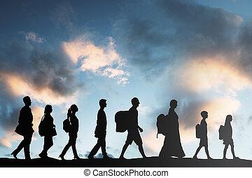 fila, camminare, persone, refugees, bagaglio