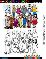 fila, coloração, pessoas