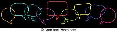 fila, coloreado, burbujas, discurso