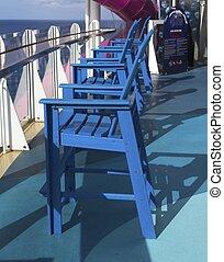 fila, crociera, sedie, blu, nave