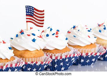 fila, de, 4 de julho, cupcakes