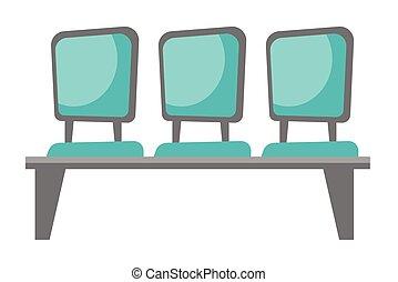 fila, de, azul, cadeiras, vetorial, caricatura, illustration.