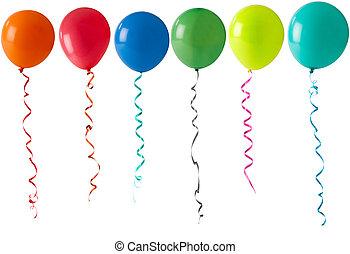 fila, de, balões, ligado, um, fundo branco