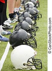 fila, de, capacetes futebol americano