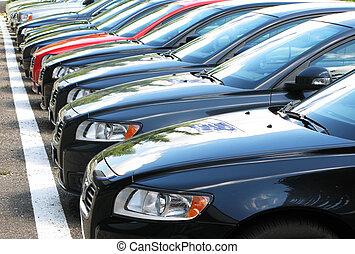 fila, de, carros