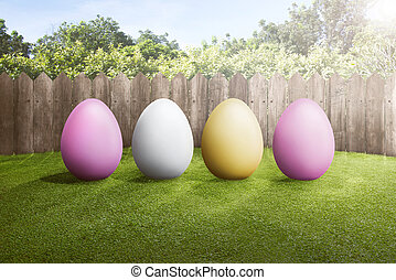 fila, de, colorido, huevos de pascua, en, hierba verde