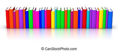 fila, de, colorido, livros