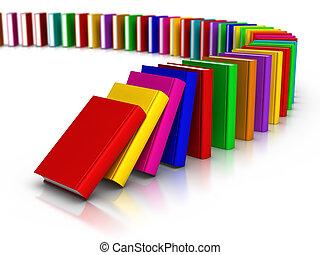 fila, de, colorido, livros, efeito domino