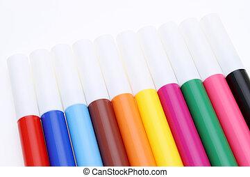 fila, de, colorido, plumas del fieltro
