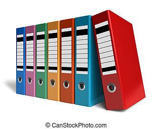 fila, de, cor, escritório, pastas