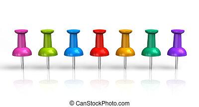 fila, de, cor, pushpins