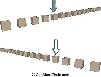 fila, de, envío, cajas, flechas, como, fronteras
