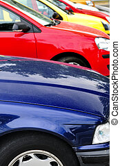 fila, de, estacionado, carros