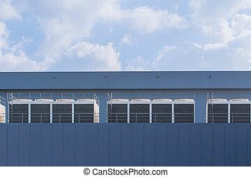 fila, de, hvac, chillers, telhado, unidades, condicionador ar, para, grande, indústria, ar, esfriando, sistema