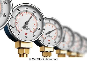 fila, de, industrial, pressão alta, medida gás, metros
