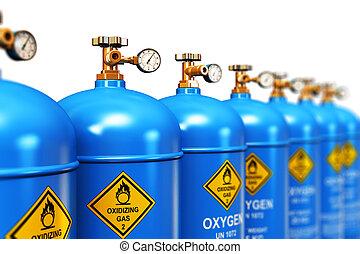 fila, de, liquefeito, oxigênio, industrial, gás, recipientes
