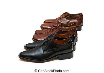 fila, de, macho, sapatos, isolado, ligado, a, branca