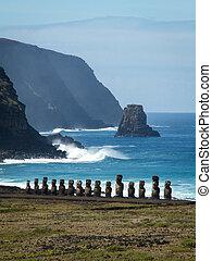 fila, de, moai, por, mar, retrato, cierre