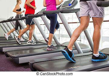 fila, de, pessoas, ligado, treadmills