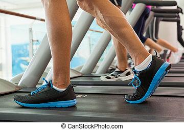fila, de, pessoas, trabalhar, ligado, treadmills