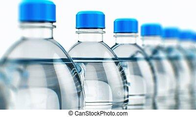 fila, de, plástico, água bebida, garrafas