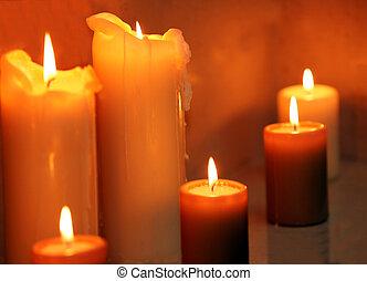 fila, de, queimadura, velas