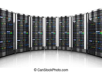 fila, de, red, servidores, en, centro de datos