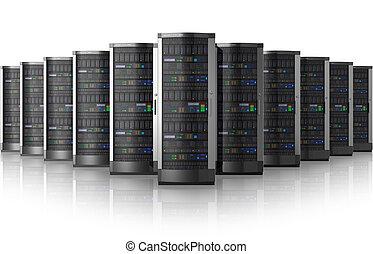 fila, de, rede, servidores, em, dados centram