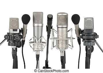 fila, de, siete, micrófonos