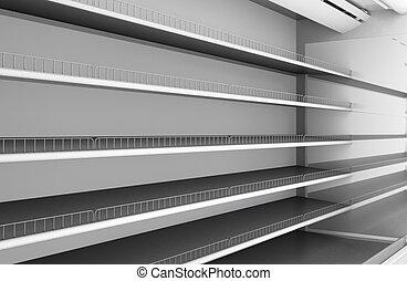 fila, de, supermercado, prateleiras, close-up