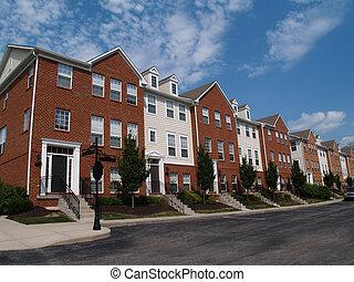 fila, de, tijolo, condomínios