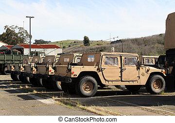 fila, de, vehículos militares