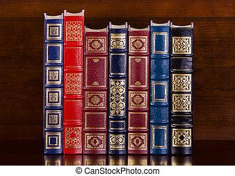 fila, de, vendimia, cuero, libros