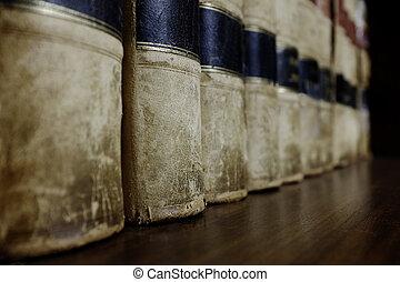 fila, di, libri legge, su, mensola
