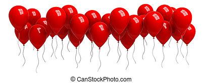 fila, di, rosso, palloni, isolato, bianco