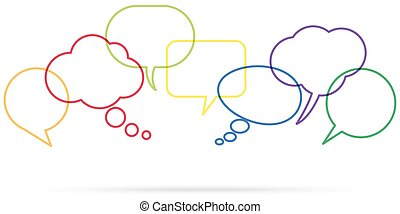 fila, discurso, coloreado, burbujas