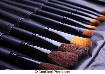 fila, escovas, jogo, pretas, maquiagem